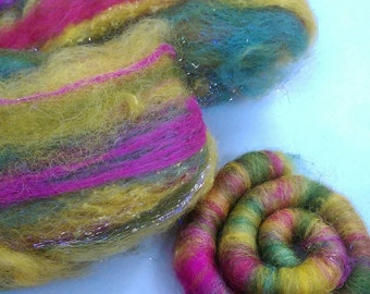 Naturally dyed art batt/ set of rolags 'Sunflowers and Roses' wool and silk roving (Phatfiber)