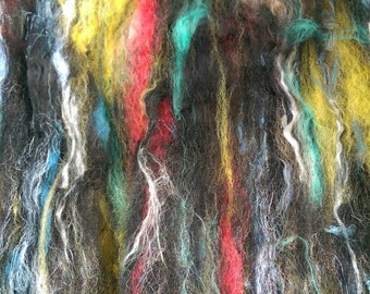 Naturally dyed Nebula art batt/ set of rolags (Phatfibre), wool, linen and silk roving