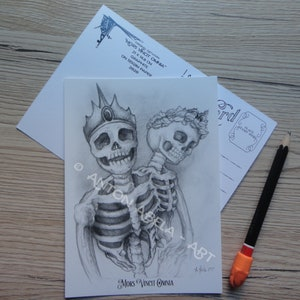 Traditional Mixed Media Love Limited Edition Skeletons Dark When 2 Are Connected to the Heart Unconventional Print Cute Prints Art