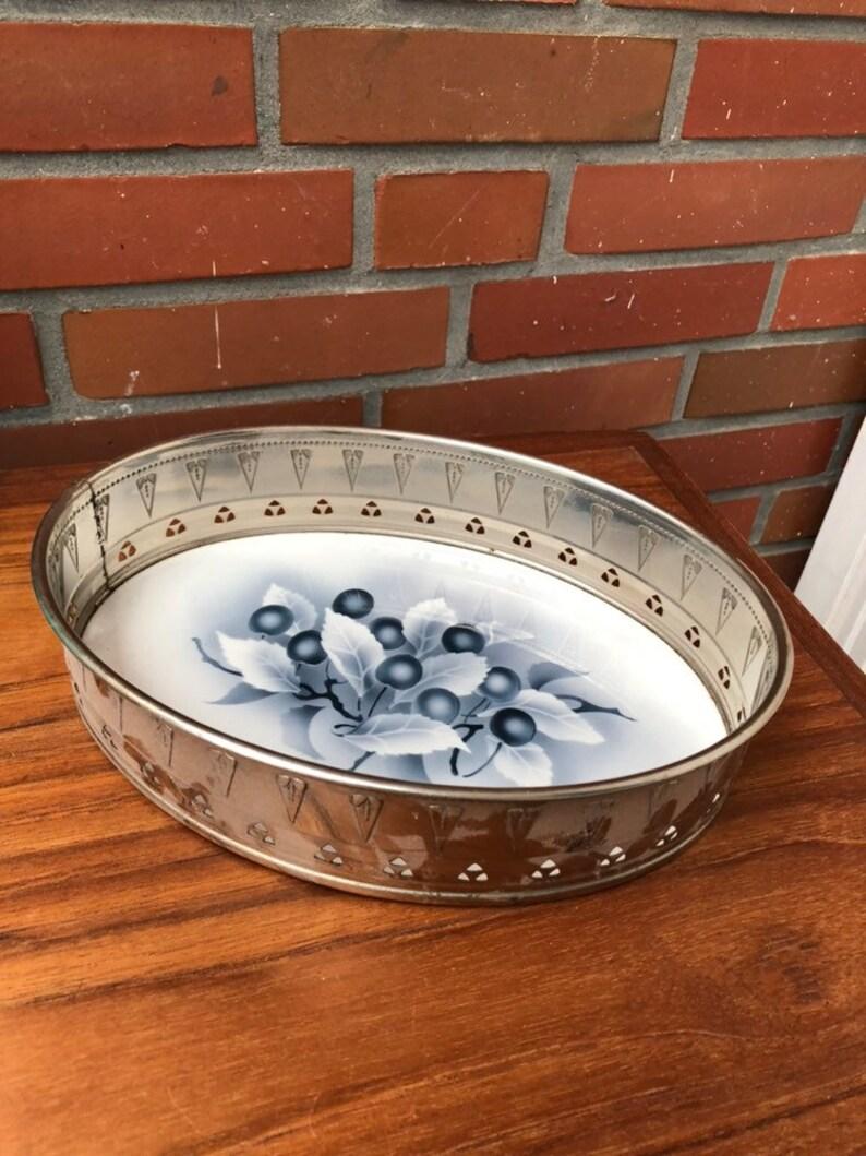 Antique Fruit Bowl Céramique/ Motif floral en métal