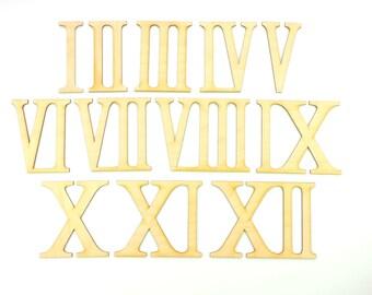 Chiffres romains 3-6-9-12 dans 50 mm en bois pour bricoler Horloge Cadran