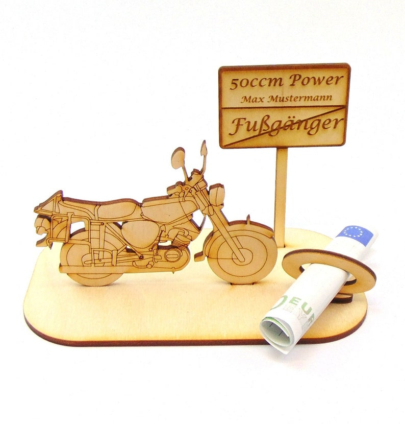 Cash gift moped to driver's license Good ride, Sweet Sixteen, pedestrian >  50cc power, motorcycle, GDR moped, pension, birthday, made of wood