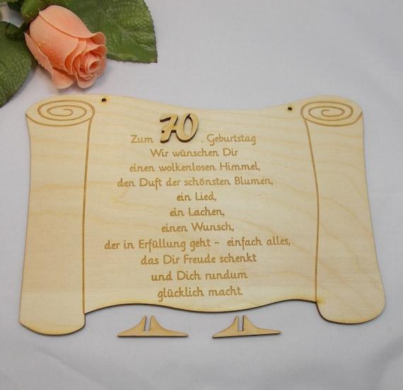 Geschenk Zum 70 Geburtstag Papierrolle Aus Holz 23 Cm Etsy