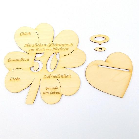 Kleeblatt Geldgeschenk Zur Goldenen Hochzeit Zahl 50 Holz 117 Cm Oder 16 Cm Mit Und Ohne Name Erhätlich