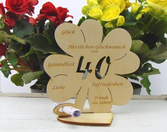 Shamrock for the 40th birthday, 11.7 cm or 16 cm, money gift with or without name engraving
