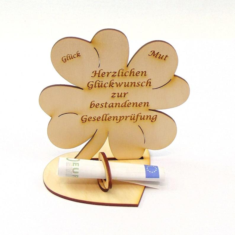 Geschenk zur bestandenen Gesellenprüfung, 11,7 cm Kleeblatt, Geldgeschenk  mit oder ohne Namensgravur