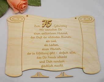 Gift for 75th birthday, wooden paper roll, 23 cm long, birthday congratulations