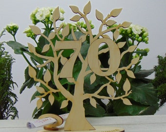 Gift for 70 birthday, gift voucher and money gift, tree of life number 70, with engraved foot - Congratulations, 16 cm