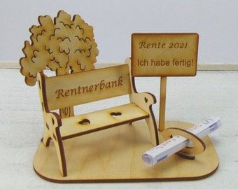 Gift for retirement, large pensioner's bank with town sign, money gift tree of life retirement