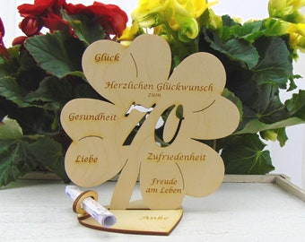 Clover leaf for the 70th birthday, 11.7 cm or 16 cm, money gift with or without name engraving