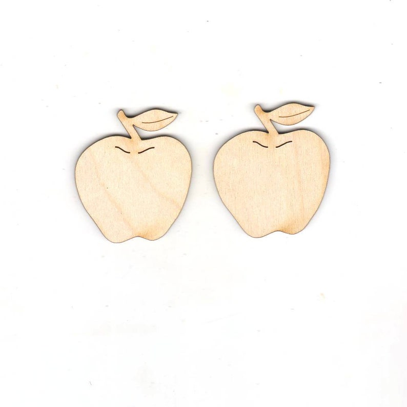 Apple 2 Pieces 70 Mm Spring Wood Crafts Etsy