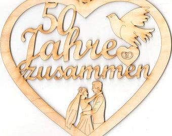 Heart 50 years together golden Wedding, pigeon, wedding rings, gift wedding