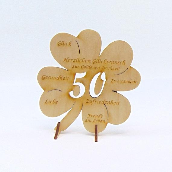 Kleeblatt Zur Goldenen Hochzeit Zahl 50 Holz 117 Cm Mit Oder Ohne Namensgravur