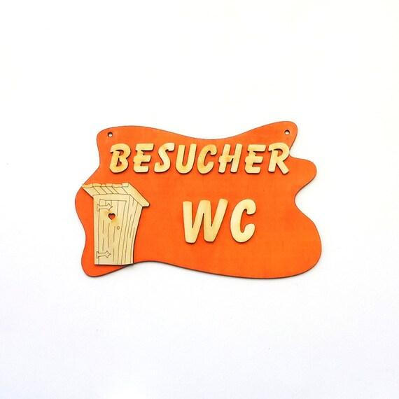 Türschild Besucher Wc Bad Schild Orange 17cm