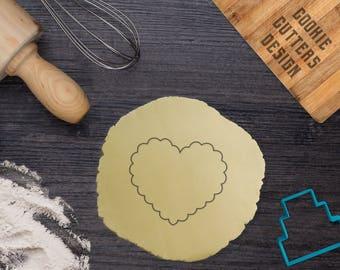 Fluted heart cookie cutter / Heart cookie cutter / Lace heart cookie cutter
