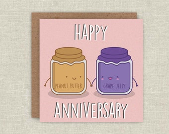 Anniversary Card Valentines Day Card Peanut Butter Jelly Love Card For Her For Him Cute Birthday Card Blank Greeting Card Fun Kawaii Card