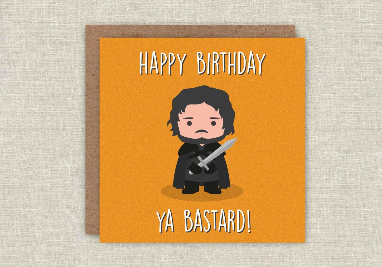 Birthday Card Jon Snow Game Of Thrones GOT Funny