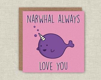 Kawaii Card Cute Whale Card Funny Pun Card Birthday Card Love Card Anniversary Card Narwhal Card For Girlfriend Card For Her Friendship Card
