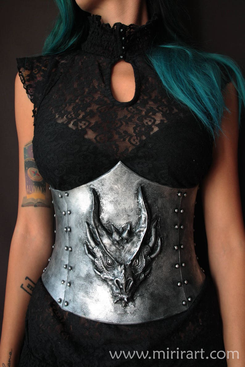 0000a679fc Underbust fantasy Corset with dragon head in relief. Armor
