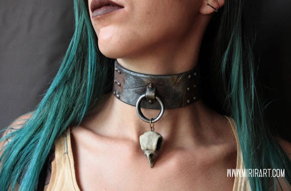Choker Necklace With Bird Skull Crow Post Apocalyptic Etsy