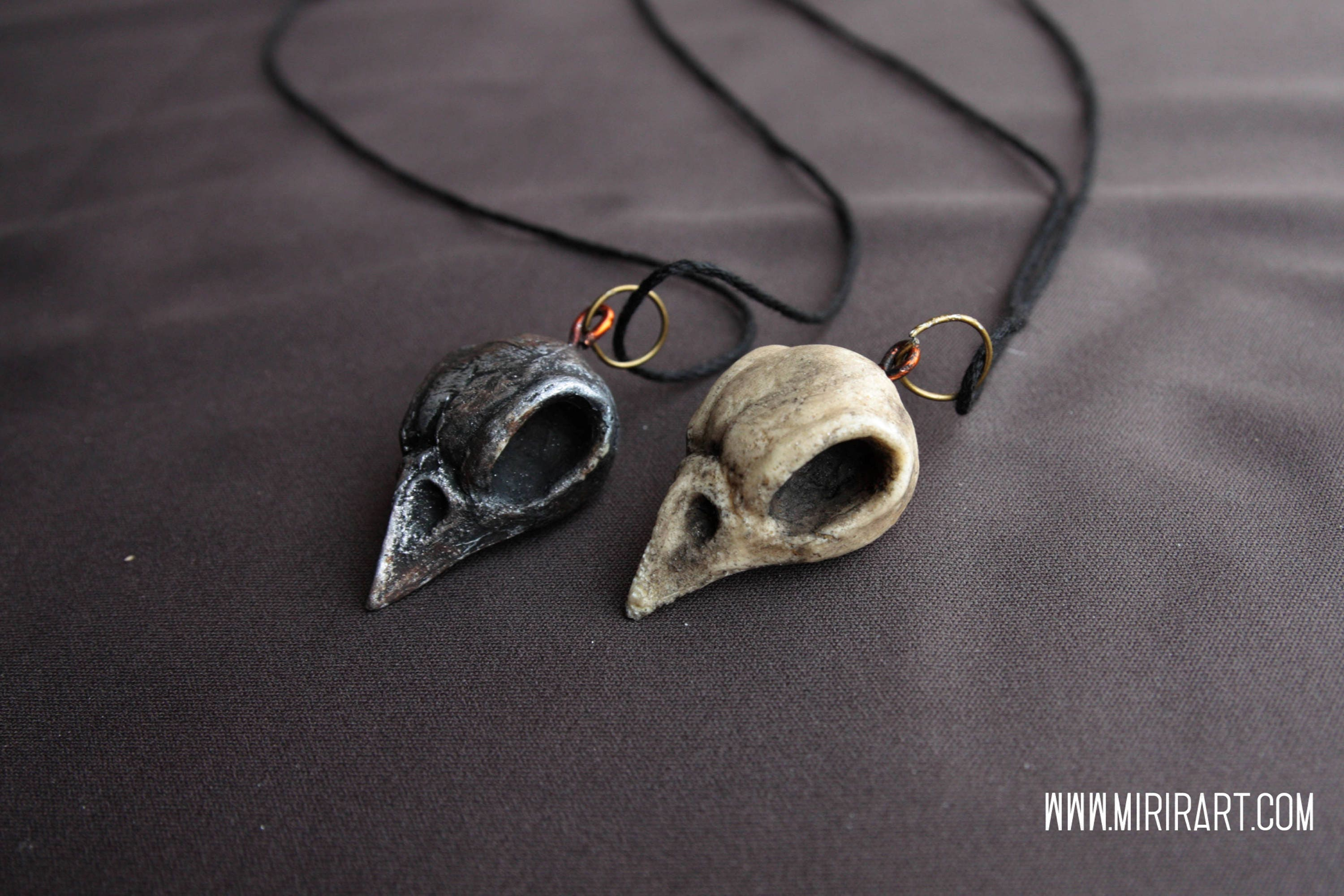 Necklace With Bird Skull Pendant In Resin Crow Post Etsy