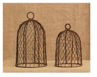 Rusty Chicken Wire Cloche Set