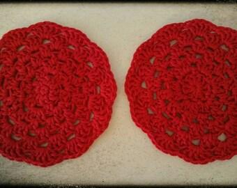 Crochet coaster red
