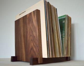 "The Black Walnut: Vinyl Record Storage Display - Holds 30, 40, 50 or 60 x 12"" Albums - Vinyl Record Holder - LP Storage"