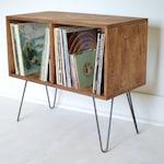Mid-Century Modern Cabinet   Bookcase   Vinyl Album Storage   TV Stand   Hairpin Legs   Zero-VOC Finish