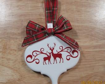 Tile Christmas Deer Ornament