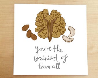 WELL DONE CARD - funny greeting card - clever - you did it - illustrated card - hand drawn card - walnut - illustration - funny card - brain