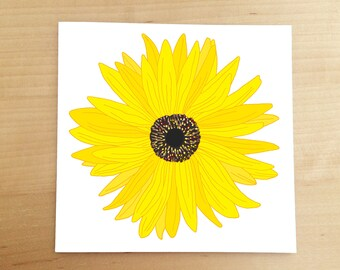hand drawn cards - illustrated cards - flower card - sunflower - thank you card - birthday card - illustration - with sympathy card - floral