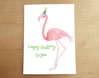 BIRTHDAY CARD - hand drawn card - flamingo - funny birthday card - illustration - birthday party - for children - children's art