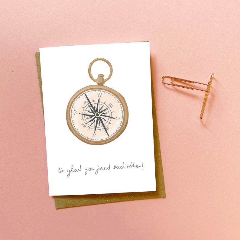 compass Wedding card illustrated card congratulations hand drawn card card for married couple newlyweds card sweet wedding card