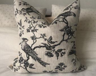 French country pillows, linen bedding, Black toile de jouy, beige cushion, vintage linen fabric, decorative pillow cover