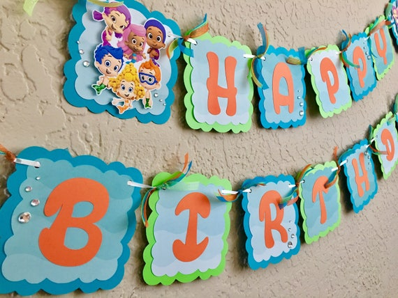 Bubble guppies birthday banner bubble guppies birthday etsy image 0 maxwellsz