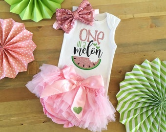 b0555e95 Pink Watermelon 1st Birthday Outfit, Watermelon Outfit, Summer First  Birthday Outfit, One In A Melon Birthday, Girls 1st Birthday Outfit