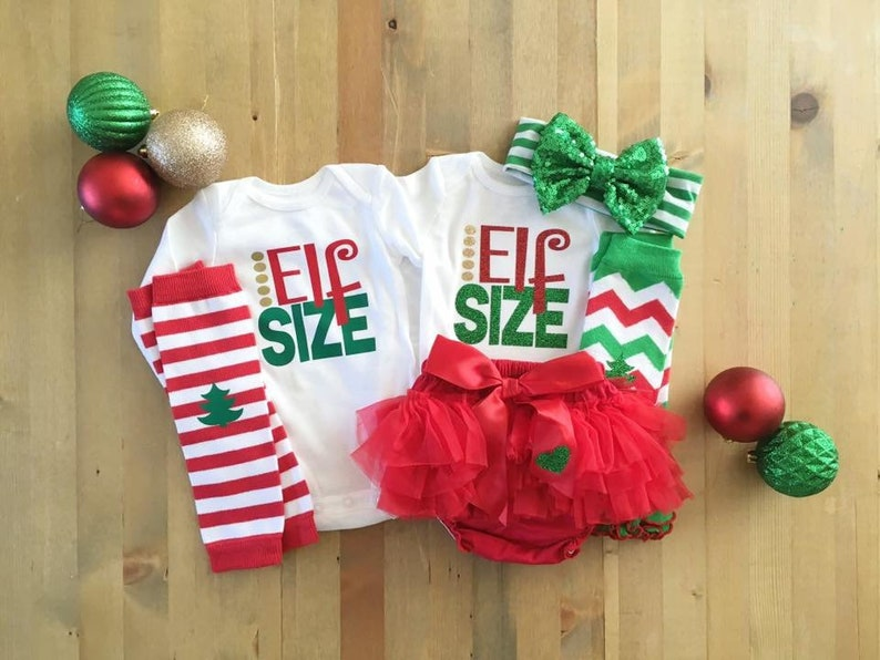 1a33cd56e6f5a Twins 1st Christmas Twins Elf Outfits Christmas Outfits for | Etsy