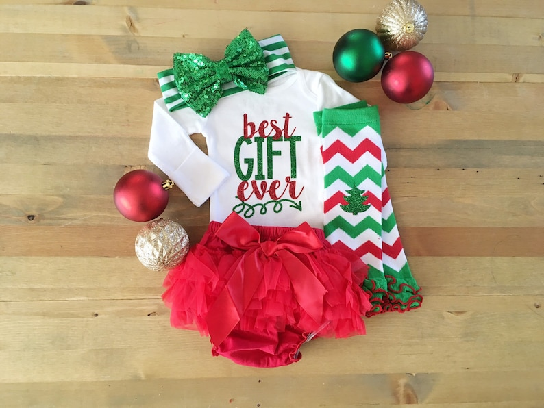 ea97cd37a4e2b Christmas Outfit For Girls Best Gift Ever Newborn Christmas