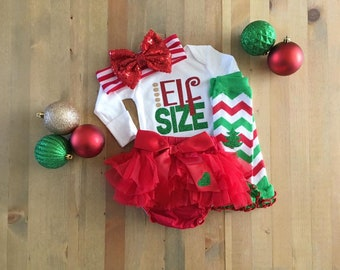 Girls Christmas Elf Outfit, 1st Christmas Outfit For Girls, Girls Christmas Outfit, Newborn Christmas Tutu, Girls Santa Pic Outfit, Elf Bow