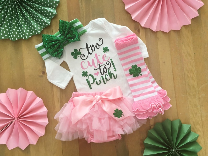 Baby Girl St Patricks Day Outfit Too Cute To Pinch St. image 0