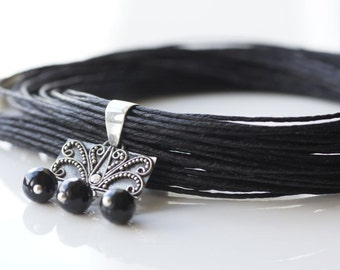 Linen necklace Black necklace Sterling silver Multistrand necklace Black linen necklace Elegant necklace Black Onyx Gift for her