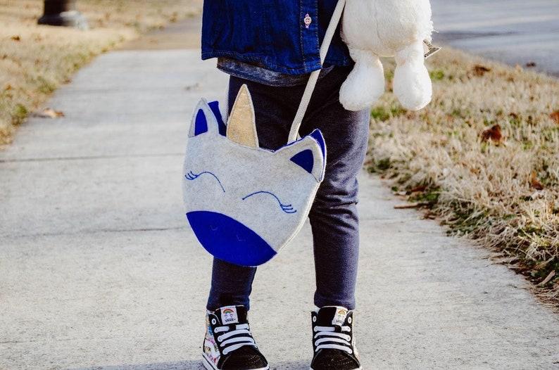 Whimsical felt toddler purse Blue unicorn girls crossbody purse