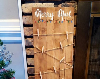 Merry Mail Card Holder Sign~Merry Mail~Reclaimed Pine Wood~Christmas Card Holder~Christmas Card Display~Christmas~Card Display~Holiday Cards