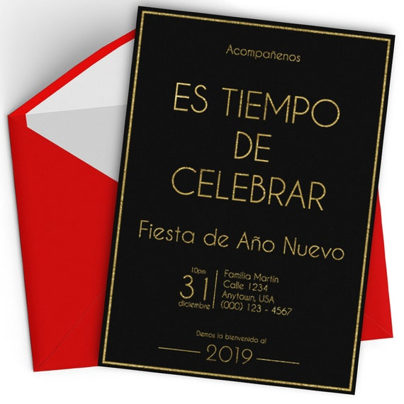 New Year S Eve Party Invitation Spanish 2019 New Etsy