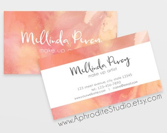 Business cards - Watercolor business cards - Printable business cards - Pre-made business cards custom business cards Business card template