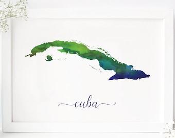 photo regarding Printable Map of Cuba identify Cuba map print Etsy