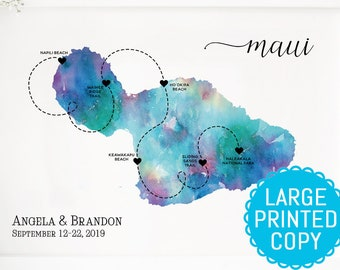 photo relating to Maui Map Printable titled Maui wedding day map Etsy