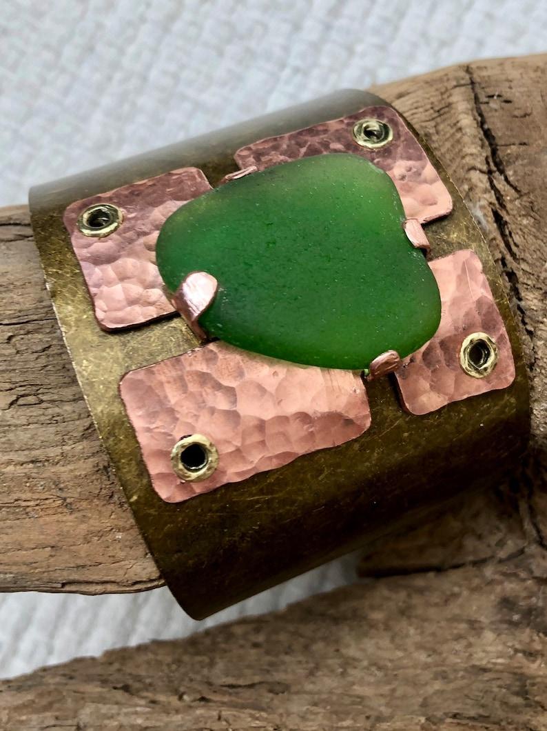 Copper and bronze cuff bracelet Rustic Lake Michigan Beach Glass