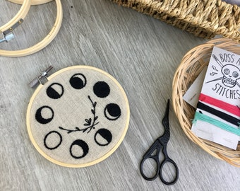 Embroidery Kit   Moon Phase   Modern Embroidery   DIY Embroidery   Stitching Kit   Adult Craft Kit